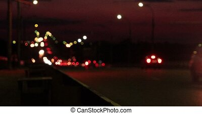 Blinking street lights on overpass in night time