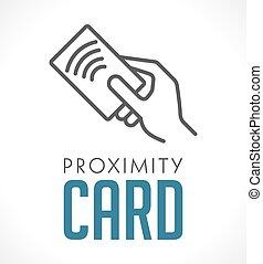 bliskość, karta, -, logo, radiowy