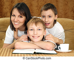 Bliss charming mom and sons sitting