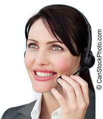 Blissful customer service agent using headset