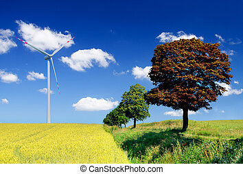 landscape with field and wind turbine