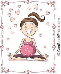 Blissful Pregnant Yoga Vector Cartoon