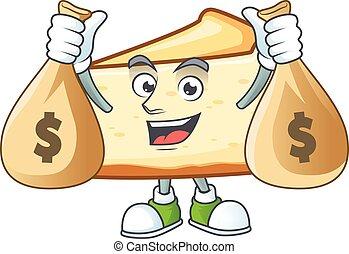 Blissful rich cheese cake cartoon character having money ...