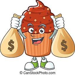 Blissful rich chocolate cupcake cartoon character having ...