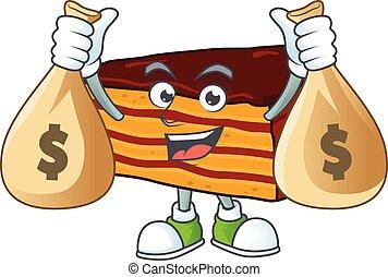 Blissful rich dobos torte cartoon character having money ...