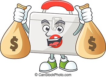 Blissful rich first aid kit cartoon character having money ...