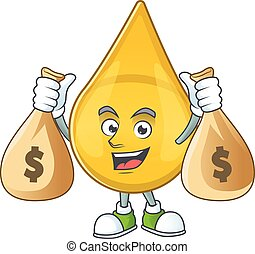 Blissful rich gold hair serum cartoon character having money...