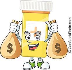 Blissful rich medicine bottle cartoon character having money...