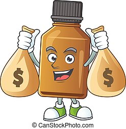 Blissful rich syrup cure bottle cartoon character having ...