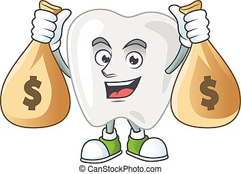 Blissful rich teeth cartoon character having money bags. ...