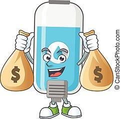 Blissful rich wall hand sanitizer cartoon character having ...