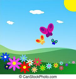 BLISSFUL SCENE - Fields with flowers under a blue sky. ...