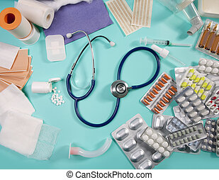 blist, farmaceutisk, medicinsk, materiale, stetoskop, pillerne
