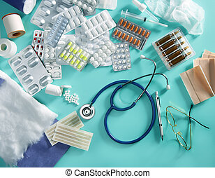 blist, medicinsk, pillerne, doktor, skrivebord, farmaceutisk, materiale, stetoskop, grøn baggrund