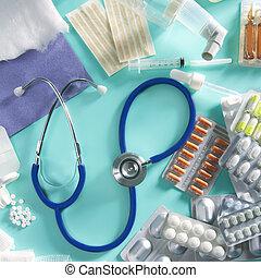 blist, medicinsk, pillerne, farmaceutisk, materiale, stetoskop