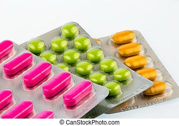 blist, tabletter, farverig, pakke