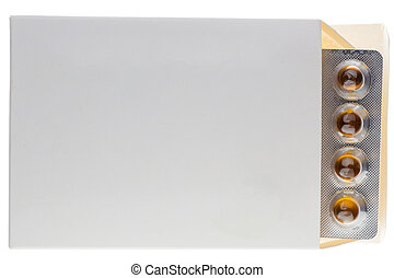 Blister in a box pack isolated on white background