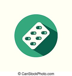Blister pack icon with shadow on a green circle. Vector pharmacy illustration