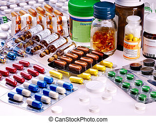 Blister pack of pills. Remedy. - Group blister pack of...