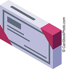 Blister package icon, isometric style