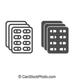 Blister with pills line and solid icon, Medical concept, Medicines in capsules sign on white background, Medical drug tablet pack icon in outline style for mobile and web design. Vector graphics.