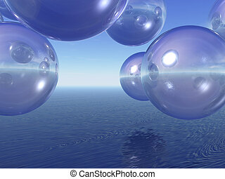 blisters - transparent balls fly over the sea - 3d...