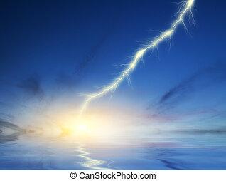 blitz, auf, a, dunkel blau, himmelsgewölbe, hintergrund