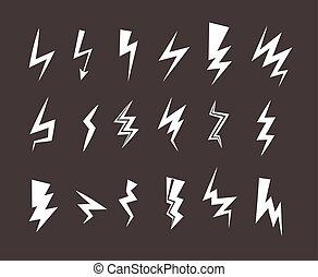 Elektrisch, blitz, symbol., riegel, pfeil, icon. Outline., schock ...