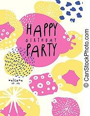 blive, bruge, banner, card, plakat, placard, illustration, invitation, vektor, dåse, flyer, gilde, fødselsdag, glade, dato, skabelon