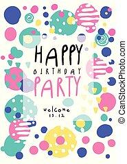 blive, bruge, banner, farverig, card, plakat, placard, illustration, invitation, vektor, dåse, flyer, gilde, fødselsdag, glade, dato, skabelon