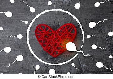 blive, den, først, always, og, everywhere., spermatozoon, til sigt, by, en, ægget, ind, den, form, i, en, hjerte