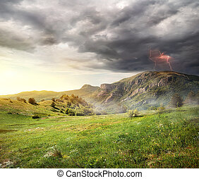 blixt, över, mountains