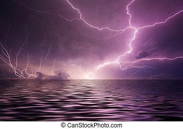 blixt, över, vatten