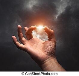 blixt, mellan, två fingrar