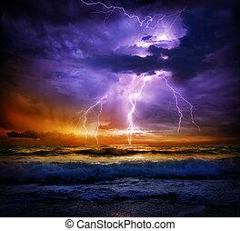 blixt, och, oväder, på, hav