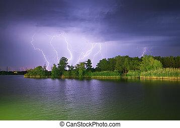 blixt, på, den, flod