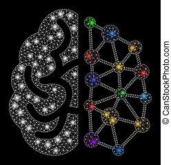 blixtra, fläckar, maska, glödande, hjärna, skapande, nätverk