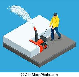 blizzard., ciudad, isométrico, aceras, después, limpia, nieve, ilustración, snowblower., vector, hombre