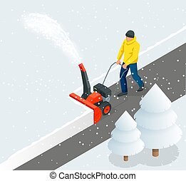blizzard., ciudad, isométrico, illustration., aceras, después, limpia, nieve, snowblower., vector, hombre