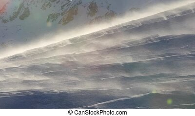 Blizzard drifting snow - Snow crystals blown in the strong...