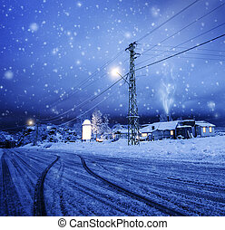 Blizzard in the village - Photo of blizzard in the village, ...