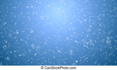 Blizzard Snowfall Seamless on Blue Gradient 3d Animation. White Snowflakes Flying in Strong Wind Looped CG with DOF Blur. Holidays Celebration Concept. 4k Ultra HD 3840x2160