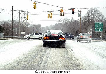 Blizzard - Card driving through a terrible blizzard