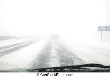 Blizzard - Winter time behind steering wheel