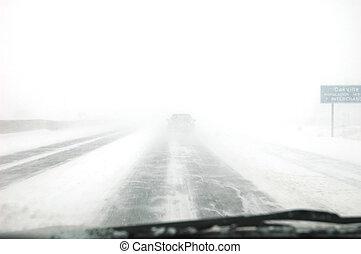 Winter time behind steering wheel