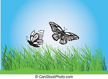 bllue, ciel, papillons, herbe
