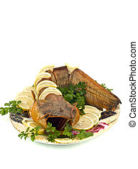 Bloated fresh-water catfish on plate