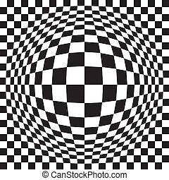 Bloated Optical Check - Seamless vector checkered pattern in...