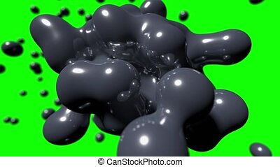 Blob floating abstract tech bio liquid blood chemical paint background loop