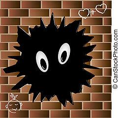 blob on a brick wall